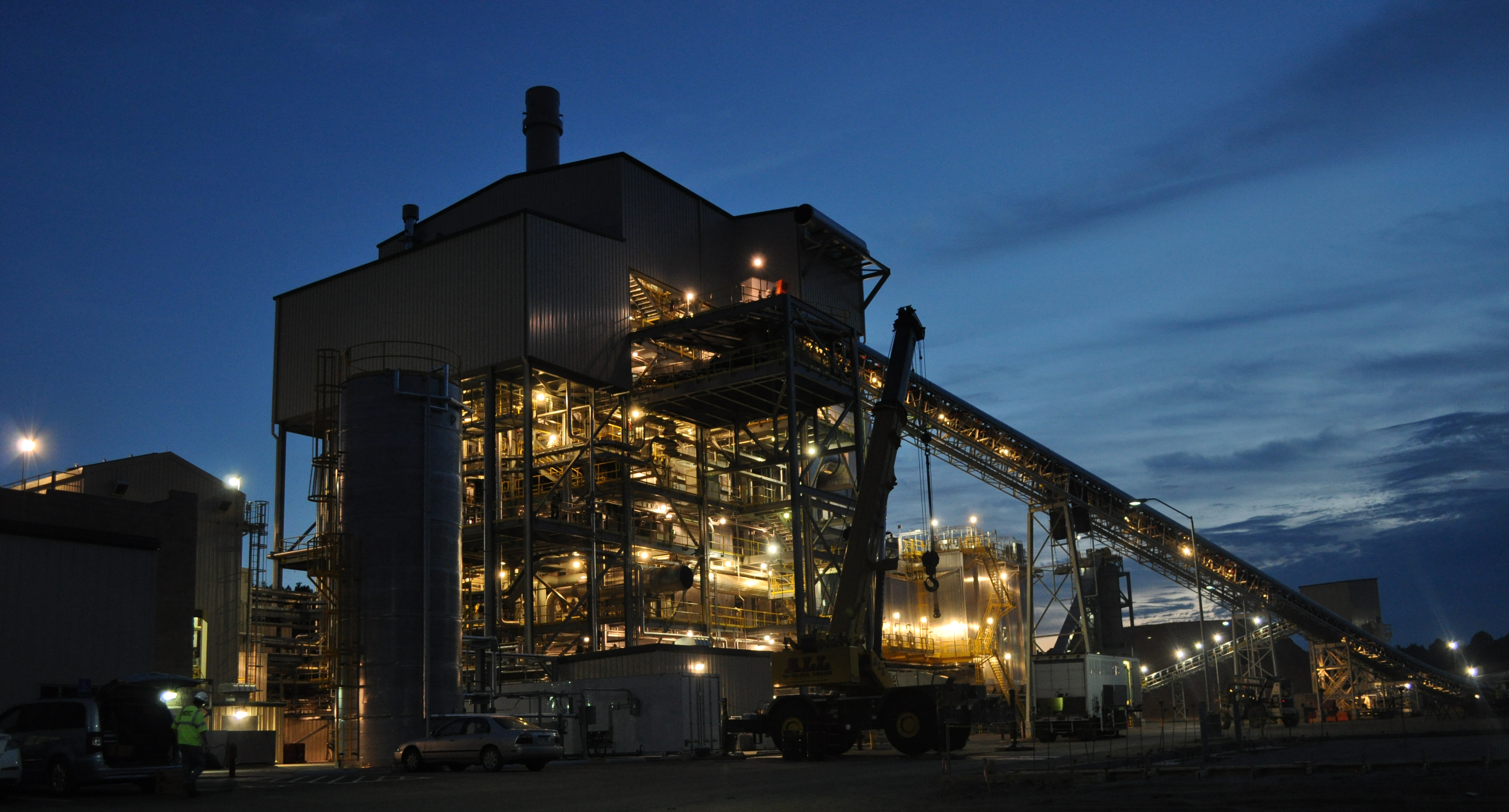 NOVEC biomass plant at night