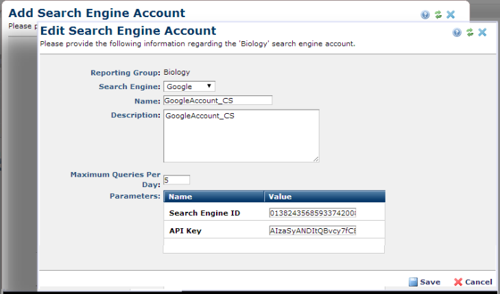 Add Search Engine Account
